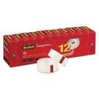 """Scotch Transparent Tape, 3/4"""" x 1000"""", 1"""" Core, Clear, 12/Pack MMM600K12"""