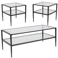 Flash Furniture Newport Collection 3 Piece Coffee and End Table Set with Glass Tops and Black Metal Frames FHFHGCEK16GG