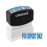 Universal Message Stamp, for DEPOSIT ONLY, Pre-Inked One-Color, Blue UNV10056