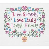 Janlynn Live, Love, Laugh Counted Cross Stitch Kit NOTM280840