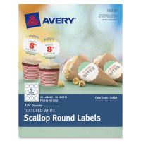 Avery Textured White Print-to-the-Edge Scallop Round Labels AVE8218