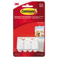 Command General Purpose Hooks, Micro, 0.5lb Cap, White, 3 Hooks & 4 Strips/Pack MMM17066ES