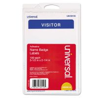 """Universal """"Visitor"""" Self-Adhesive Name Badges, 3 1/2 x 2 1/4, White/Blue, 100/Pack UNV39110"""