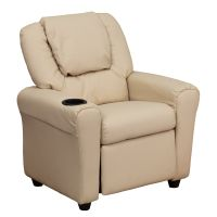 Flash Furniture Contemporary Beige Vinyl Kids Recliner with Cup Holder and Headrest FHFDGULTKIDBGEGG