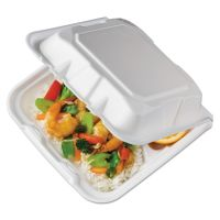 Pactiv Foam Hinged Lid Containers, White, 8.4375 x 8 1/8 x 3, 3-Compartment, 150/Crtn PCTYTD18803