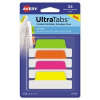 Avery Ultra Tabs Repositionable Tabs, 2.5 x 1, Neon:Green, Orange, Pink, Yellow, 24/PK AVE74767