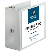 """Business Source 5"""" D-Ring View Binder, Letter Size, White BSN28445"""