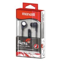 "Maxell B-13 Bass Earbuds with Microphone, Black, 52"" Cord MAX199621"