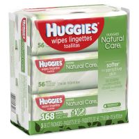 Huggies Natural Care Baby Wipes, Unscented, White, 56/Pack, 3-Pack/Box KCC43403PK