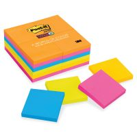 Post-it Notes Super Sticky Pads in Rio de Janeiro Colors, 3 x 3, 90-Sheet, 24/Pack MMM65424SSAU