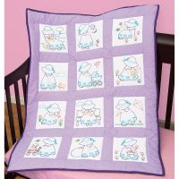 Jack Dempsey Stamped White Nursery Quilt Blocks NOTM358859