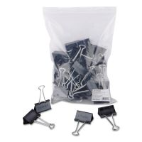 "Universal Large Binder Clips, Zip-Seal Bag, 1"" Capacity, 2"" Wide, Black, 36/Bag UNV10220VP"
