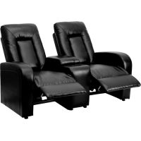 Flash Furniture Eclipse Series 2-Seat Reclining Black Leather Theater Seating Unit with Cup Holders FHFBT702592BKGG