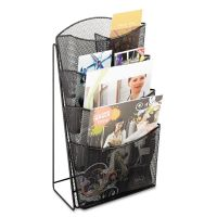 Safco Onyx Mesh Counter Display, Four Compartments, 9 3/4w x 9 1/2d x 18h, Black SAF5640BL