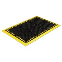 Crown Safewalk Workstations Anti-Fatigue Drainage Mat, 40 x 64, Black/Yellow CWNWS4E64YE