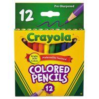 Crayola Short Barrel Colored Woodcase Pencils, 3.3 mm, 12 Assorted Colors/Set CYO684112