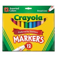 Crayola Non-Washable Markers, Broad Point, Assorted Colors, 12/Set CYO587712
