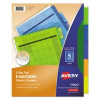 Avery Insertable Big Tab Plastic Dividers, 5-Tab, Multi-color Tab, Letter, 1 Set AVE11900