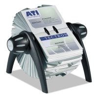 Durable VISIFIX Flip Rotary Business Card File, Holds 400 4 1/8 x 2 7/8 Cards, Black/SR DBL241701