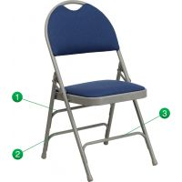 Flash Furniture HERCULES Series Extra Large Ultra-Premium Triple Braced Navy Fabric Metal Folding Chair with Easy-Carry Handle FHFHAMC705AF3NVYGG