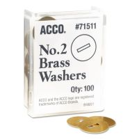 """ACCO Washers for Two-Piece Paper Fasteners, 1/2"""" Cap, 1 1/4"""" Diameter, Gold, 100/Box ACC71511"""