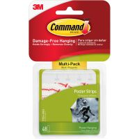 Command Poster Strips Value Pack, White, 48/Pack MMM1702448ES