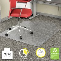 deflecto EconoMat Occasional Use Chair Mat for Low Pile, 45 x 53 w/Lip, Clear DEFCM11232