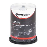 Innovera CD-R Discs, Hub Printable, 700MB/80min, 52x, Spindle, Matte White, 100/Pack IVR77815