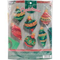 """Bucilla Felt Ornaments Applique Kit 3""""X4"""" Set Of 6 NOTM052310"""