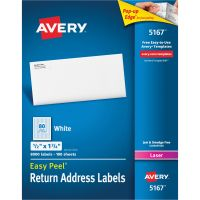 Avery Easy Peel Return Address Labels, Laser, 1/2 x 1 3/4, White, 8000/Box AVE5167