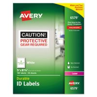 Avery Permanent ID Labels w/TrueBlock Technology, Laser, 5 x 8 1/8, White, 100/Pack AVE6579
