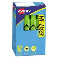 Avery HI-LITER Desk-Style Highlighter, Chisel Tip, Fluorescent Green Ink, Dozen AVE24020
