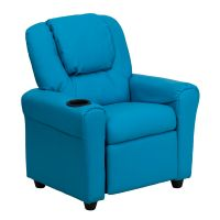 Flash Furniture Contemporary Turquoise Vinyl Kids Recliner with Cup Holder and Headrest FHFDGULTKIDTURQGG