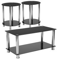 Flash Furniture Riverside Collection 3 Piece Coffee and End Table Set with Black Glass Tops and Stainless Steel Frames FHFHGCEK18GG