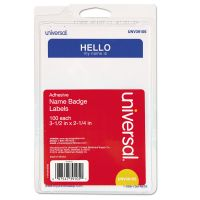 """Universal """"Hello"""" Self-Adhesive Name Badges, 3 1/2 x 2 1/4, White/Blue, 100/Pack UNV39105"""