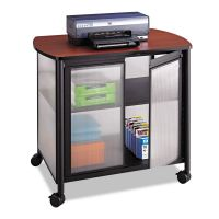 Safco Impromptu Deluxe Machine Stand w/Doors, 34-3/4 x 25-1/2 x 30-3/4, Black/Cherry SAF1859BL