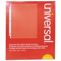 Universal Top-Load Poly Sheet Protectors, Letter, Economy, Nonglare, Clear, 200/Box UNV21127
