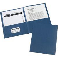 Avery Two-Pocket Folder, 40-Sheet Capacity, Dark Blue, Embossed Paper, 25/Box AVE47985