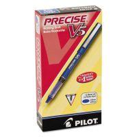 Pilot Precise V5 Roller Ball Stick Pen, Precision Point, Blue Ink, .5mm, Dozen PIL35335