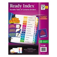 Avery Ready Index Customizable Table of Contents, Asst Dividers, 12-Tab, Ltr, 6 Sets AVE11196