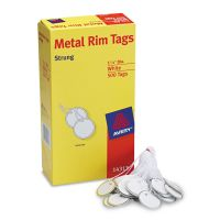 Avery Heavyweight Stock Metal Rim Tags,  1 1/4 dia, White, 500/Box AVE14313