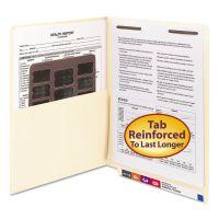 Smead Reinforced End Tab Pocket Folder, One Fastener, Letter Size, Manila, 50/Box SMD34100