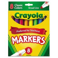 Crayola Non-Washable Markers, Broad Point, Classic Colors, 8/Set CYO587708