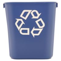 Rubbermaid Commercial Small Deskside Recycling Container, Rectangular, Plastic, 13.625qt, Blue RCP295573BE