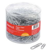 Universal Plastic-Coated Paper Clips, No.1/Jumbo, Silver, 1000/Pack UNV21001