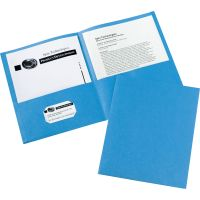 Avery Two-Pocket Folder, 40-Sheet Capacity, Light Blue, 25/Box AVE47986