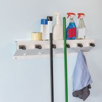 """Ex-Cell The Clincher Mop & Broom Holder, 34""""w x 5 1/2""""d x 7 1/2""""h, White Gloss, Each EXC3336WHT2"""