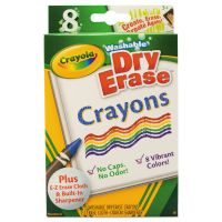 Crayola Washable Dry Erase Crayons w/E-Z Erase Cloth, Assorted Colors, 8/Pack CYO985200