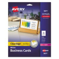 Avery Clean Edge Business Cards, Laser, 2 x 3 1/2, White, 200/Pack AVE5871