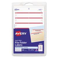 Avery Print or Write File Folder Labels, 11/16 x 3 7/16, White/Dark Red Bar, 252/Pack AVE05201